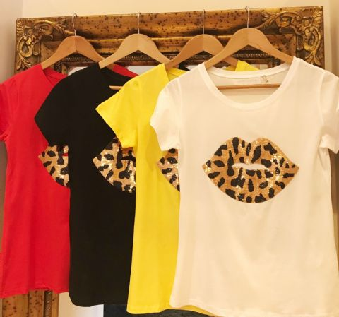 Libby Leopard Sequin Lips T-Shirts